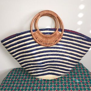 Navy Striped Straw Summer Tote Bag with Handles!